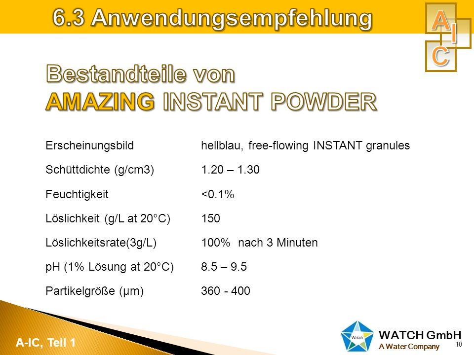 A I C 6.3 Anwendungsempfehlung Bestandteile von AMAZING INSTANT POWDER
