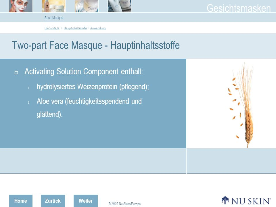 Two-part Face Masque - Hauptinhaltsstoffe