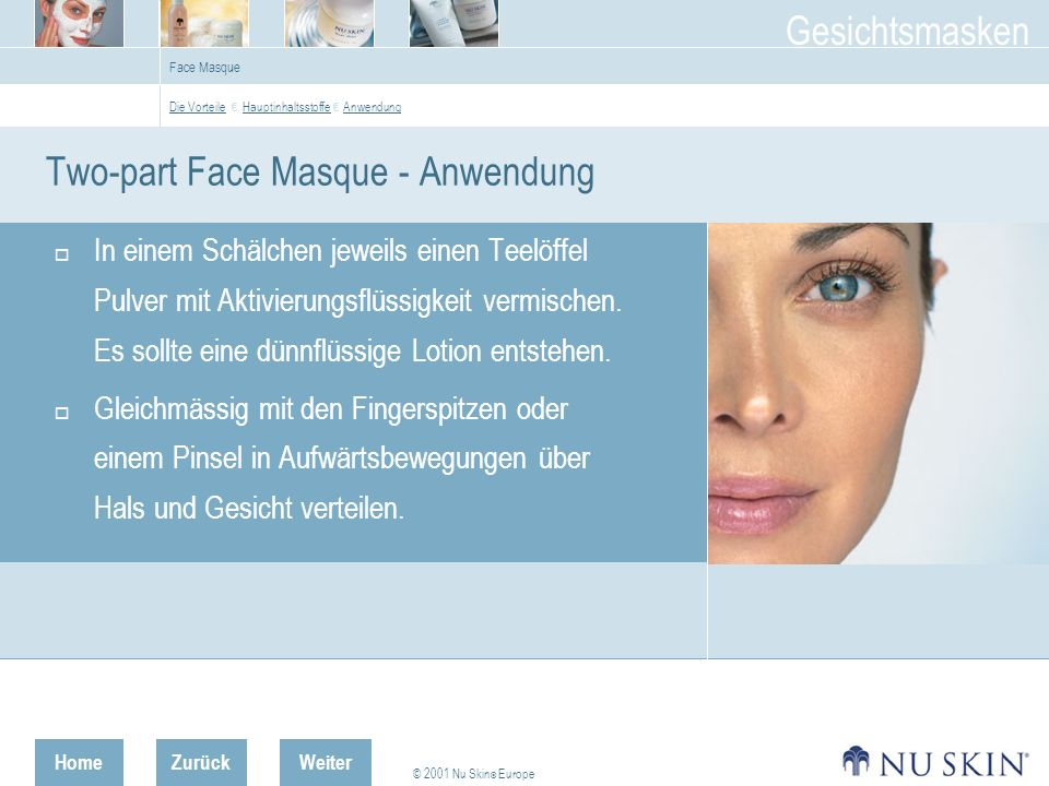 Two-part Face Masque - Anwendung