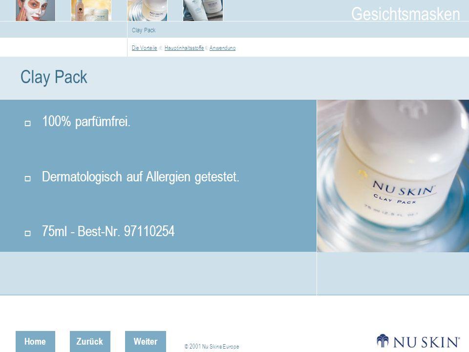 Clay Pack 100% parfümfrei. Dermatologisch auf Allergien getestet.