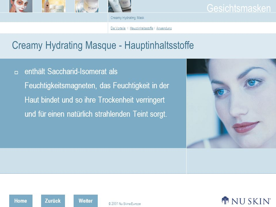 Creamy Hydrating Masque - Hauptinhaltsstoffe