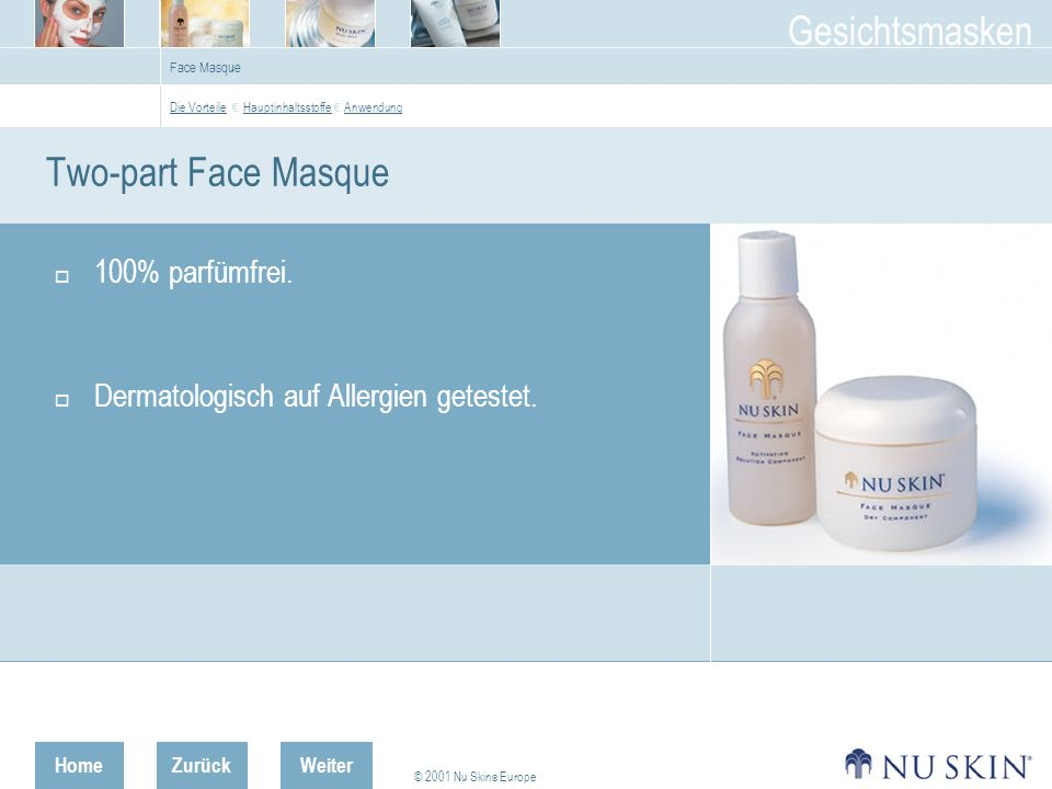 Two-part Face Masque 100% parfümfrei.