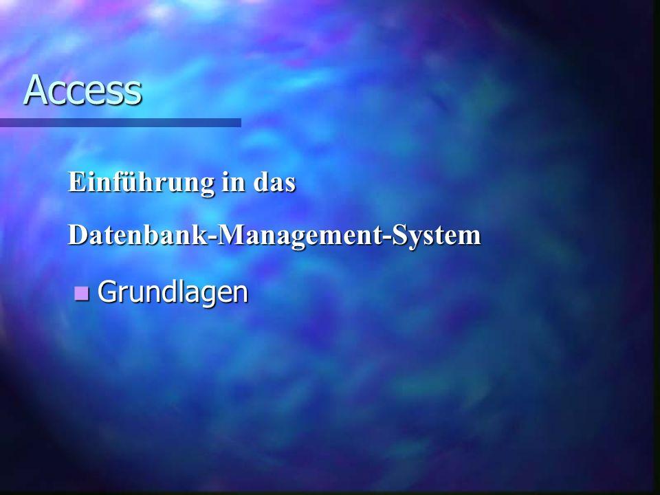 Access Einführung in das Datenbank-Management-System Grundlagen