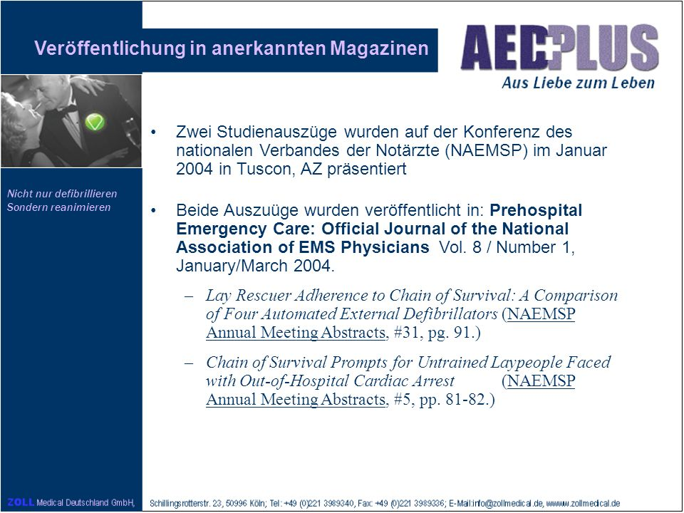 Veröffentlichung in anerkannten Magazinen