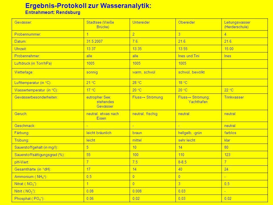 Ergebnis-Protokoll zur Wasseranalytik:
