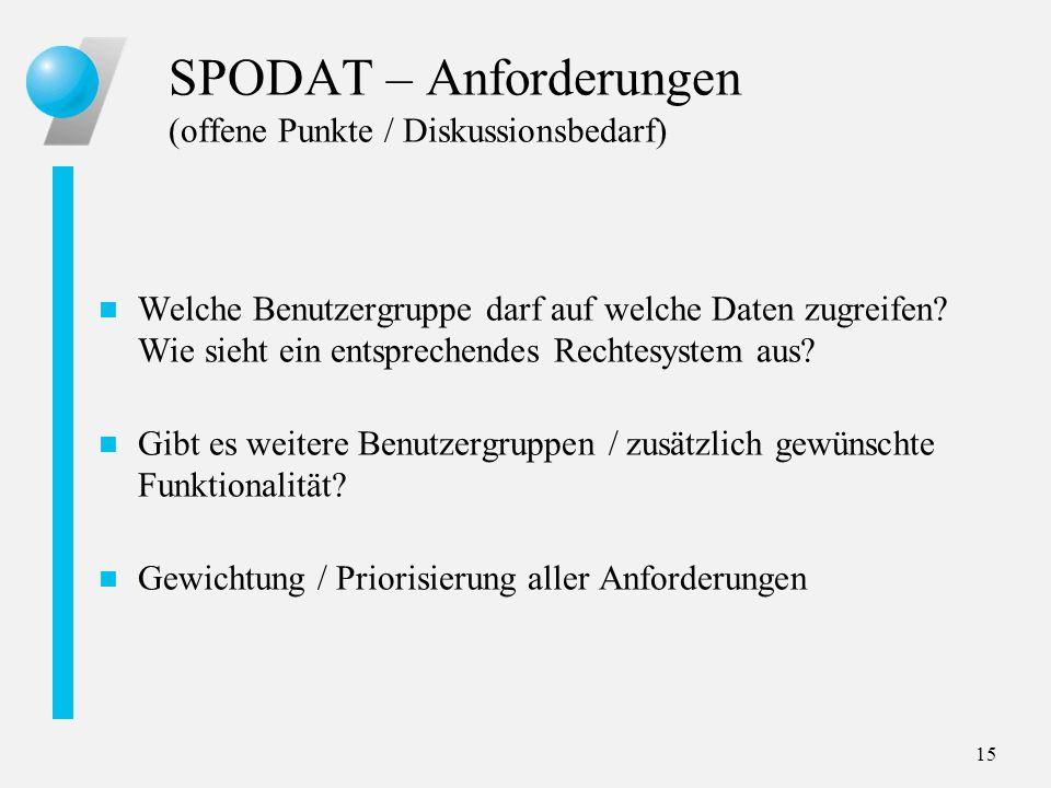 SPODAT – Anforderungen (offene Punkte / Diskussionsbedarf)