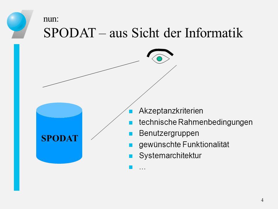 nun: SPODAT – aus Sicht der Informatik