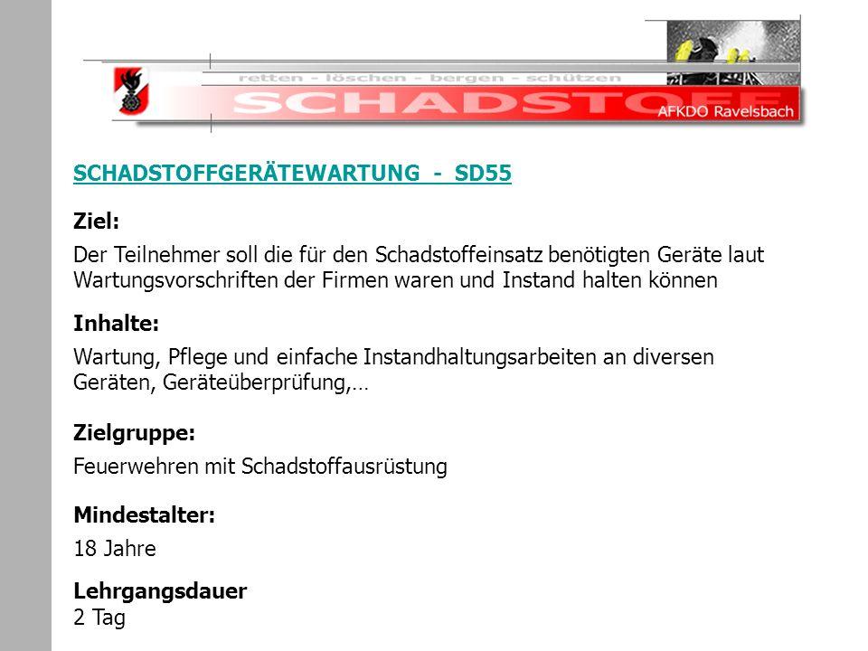 Schadstoffeinsatz SCHADSTOFFGERÄTEWARTUNG - SD55