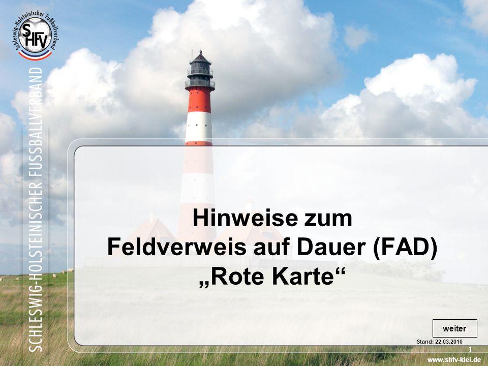"Hinweise zum Feldverweis auf Dauer (FAD) ""Rote Karte"