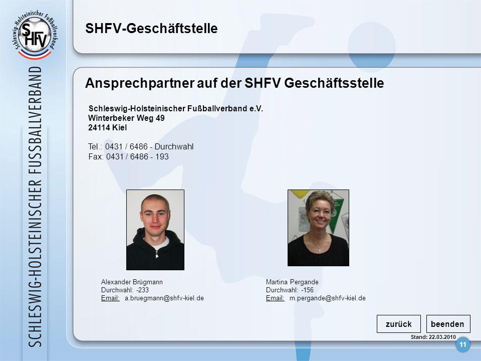 Ansprechpartner auf der SHFV Geschäftsstelle