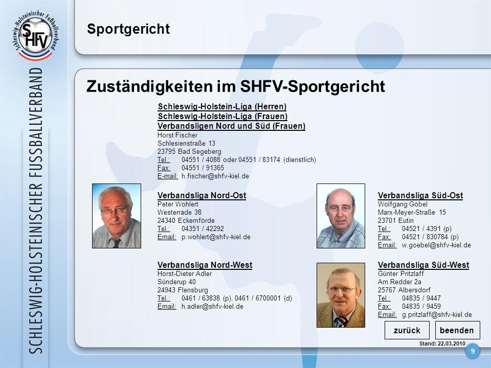 Zuständigkeiten im SHFV-Sportgericht