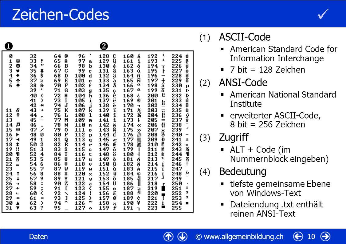  Zeichen-Codes   ASCII-Code ANSI-Code Zugriff Bedeutung