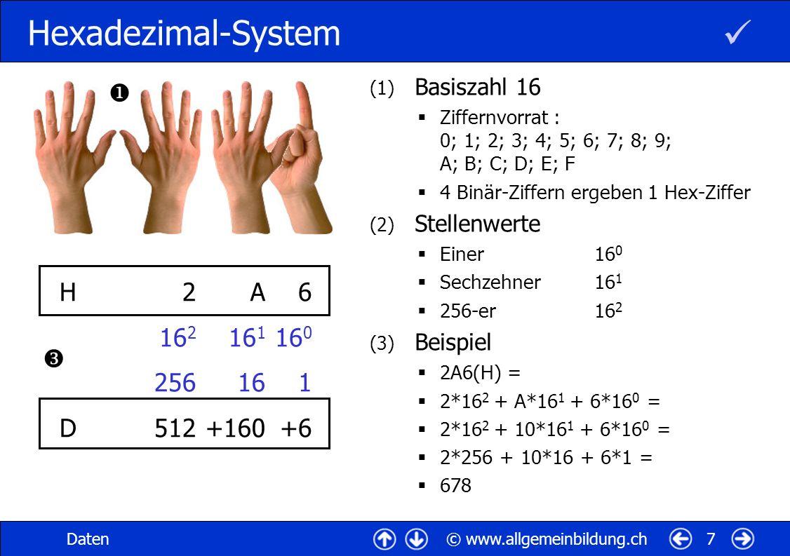  Hexadezimal-System  H D 2 162 256 512 A 161 16 +160 6 160 1 +6 