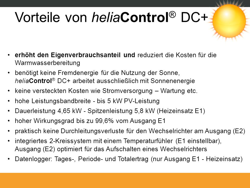 Vorteile von heliaControl® DC+