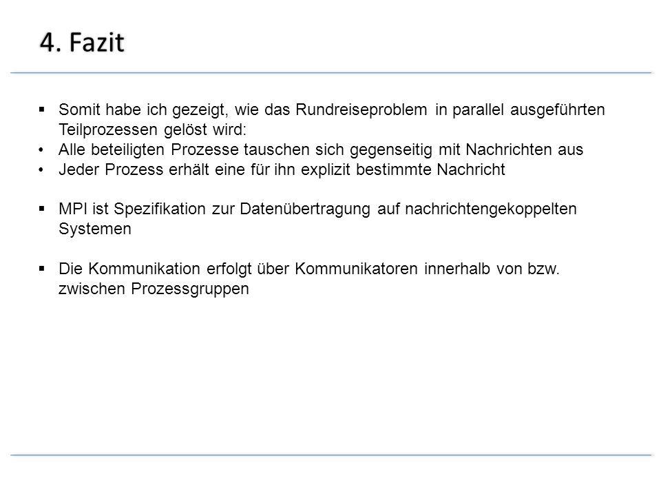 4. Fazit Somit habe ich gezeigt, wie das Rundreiseproblem in parallel ausgeführten Teilprozessen gelöst wird: