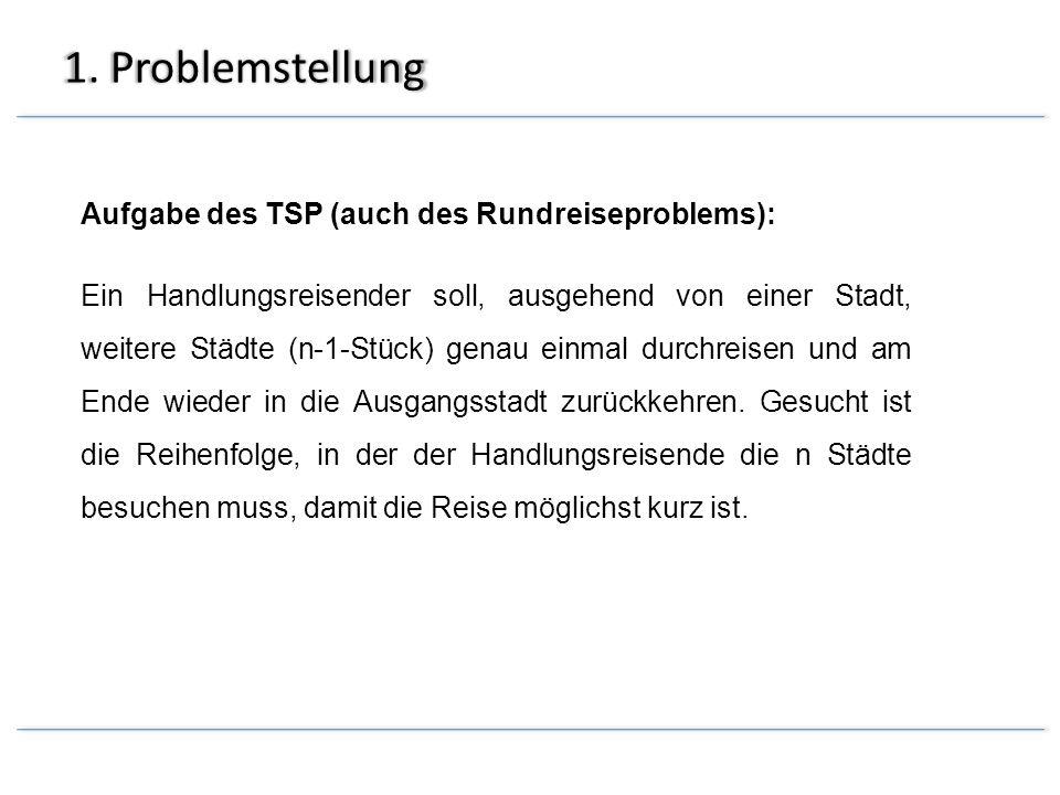 1. Problemstellung Aufgabe des TSP (auch des Rundreiseproblems):