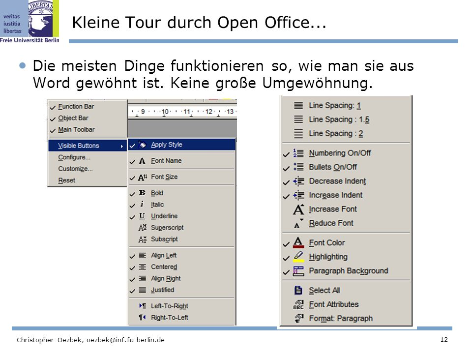 Kleine Tour durch Open Office...