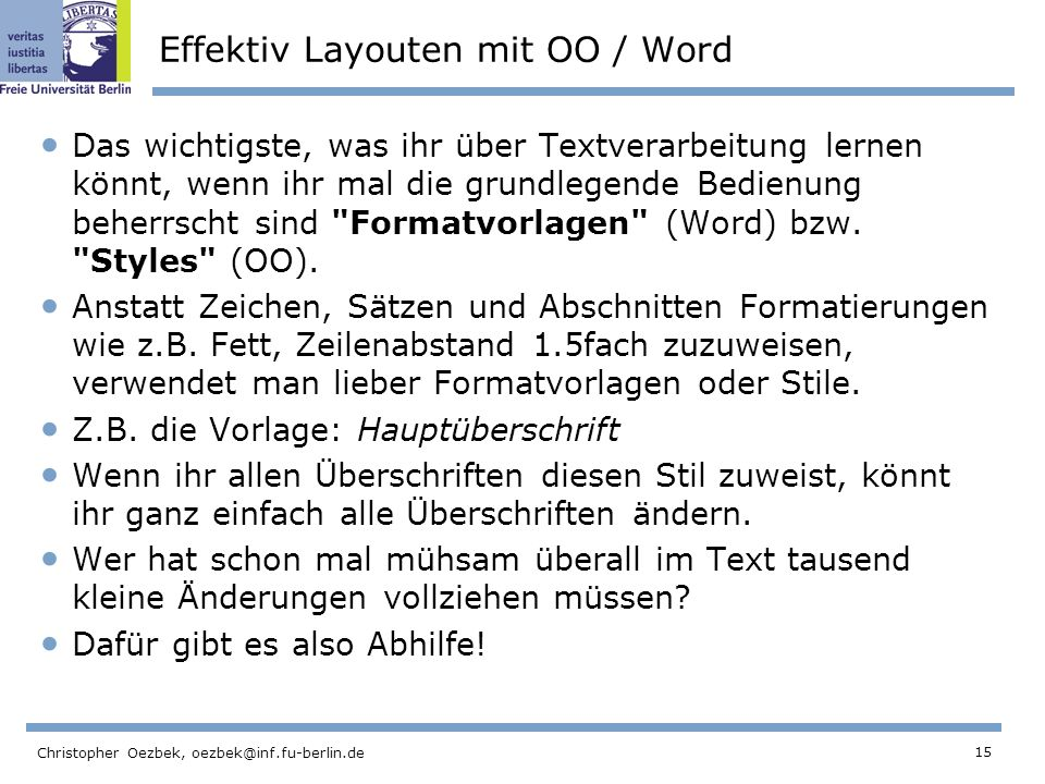 Effektiv Layouten mit OO / Word