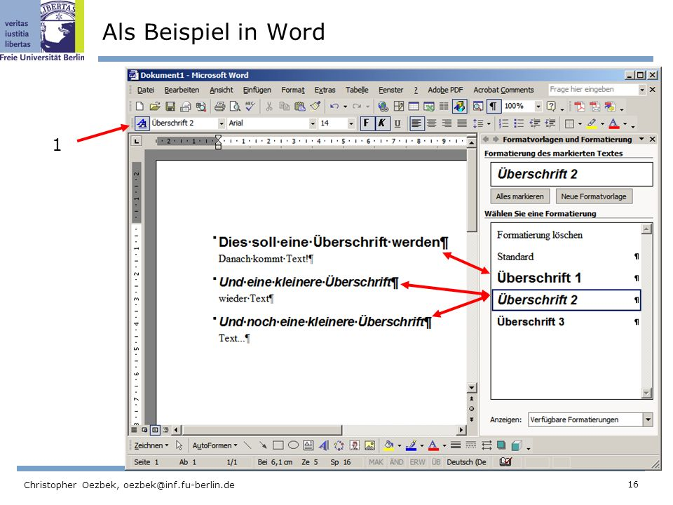 Als Beispiel in Word 1 Christopher Oezbek,