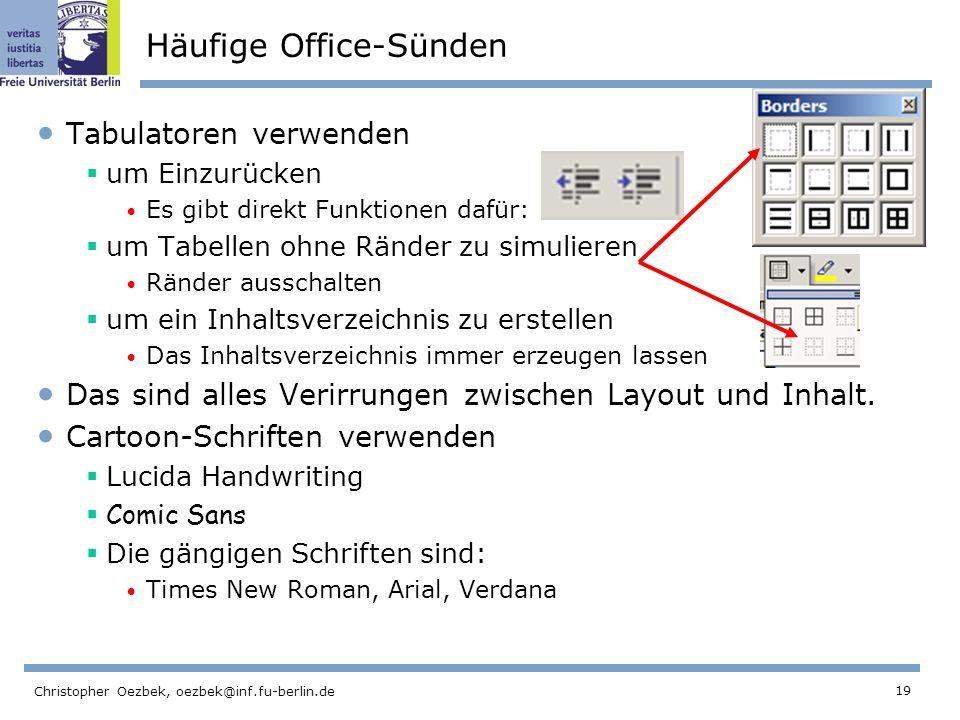 Häufige Office-Sünden