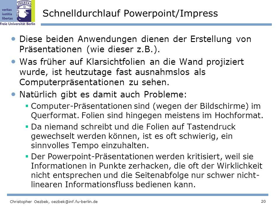 Schnelldurchlauf Powerpoint/Impress