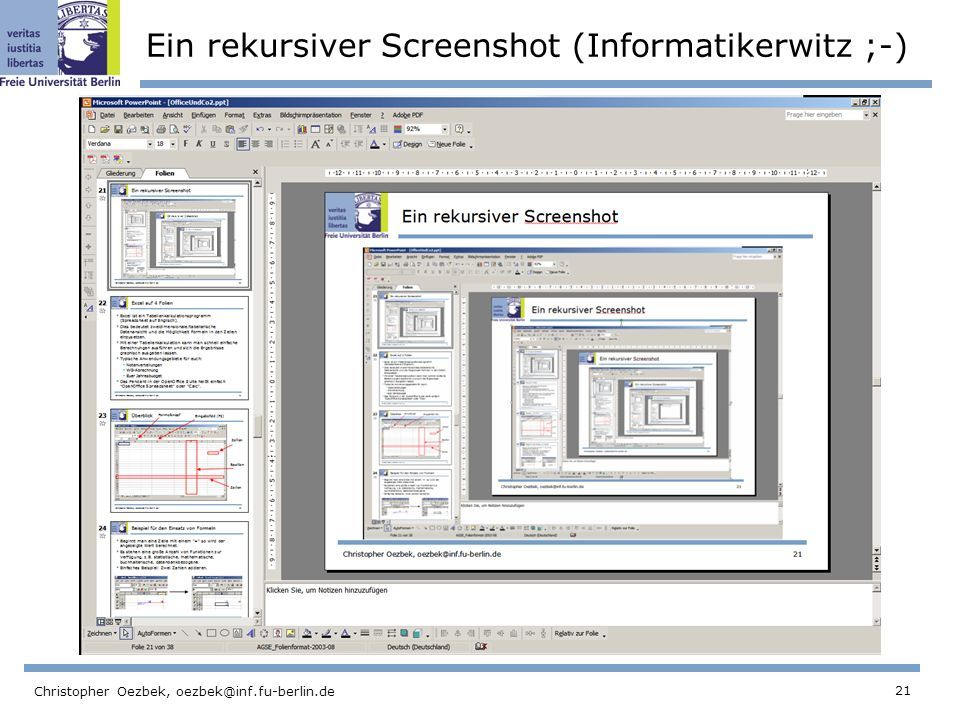 Ein rekursiver Screenshot (Informatikerwitz ;-)