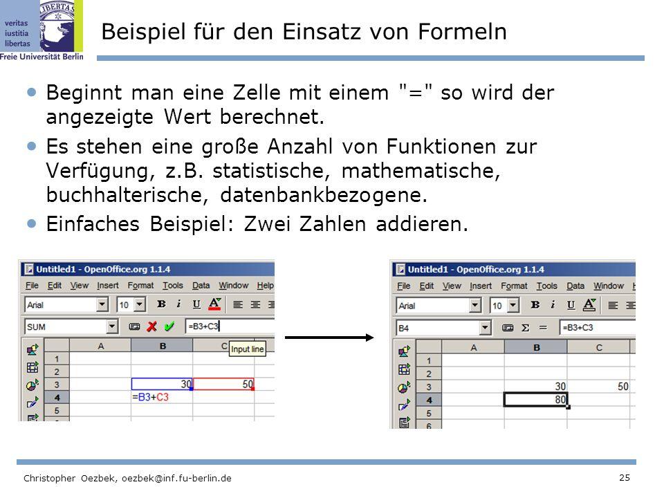 Beispiel für den Einsatz von Formeln