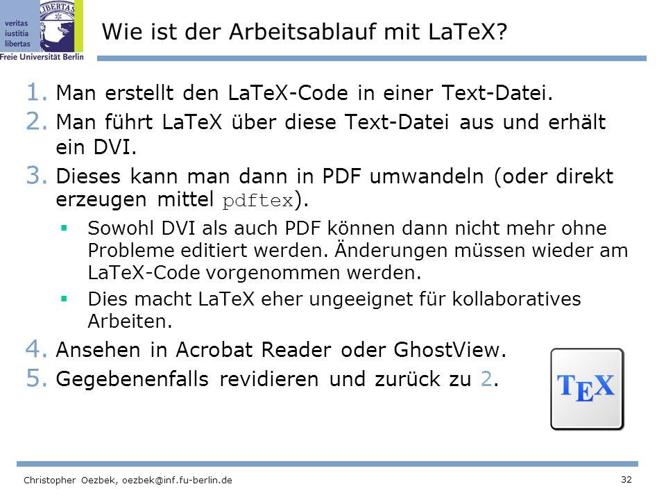 Wie ist der Arbeitsablauf mit LaTeX