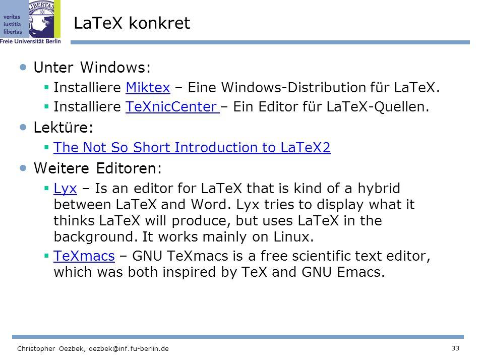 LaTeX konkret Unter Windows: Lektüre: Weitere Editoren: