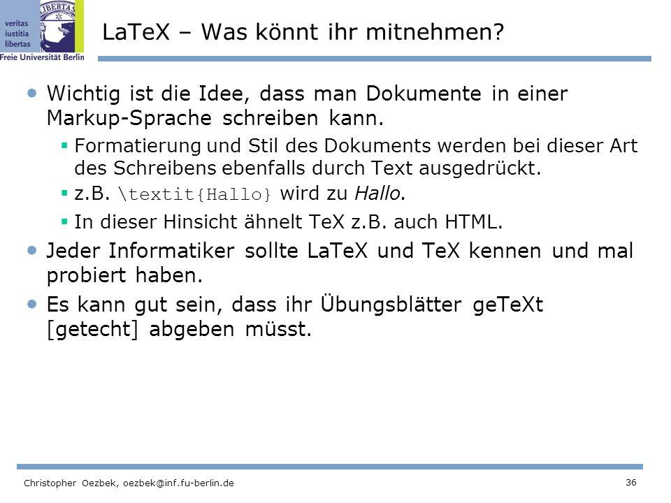 LaTeX – Was könnt ihr mitnehmen