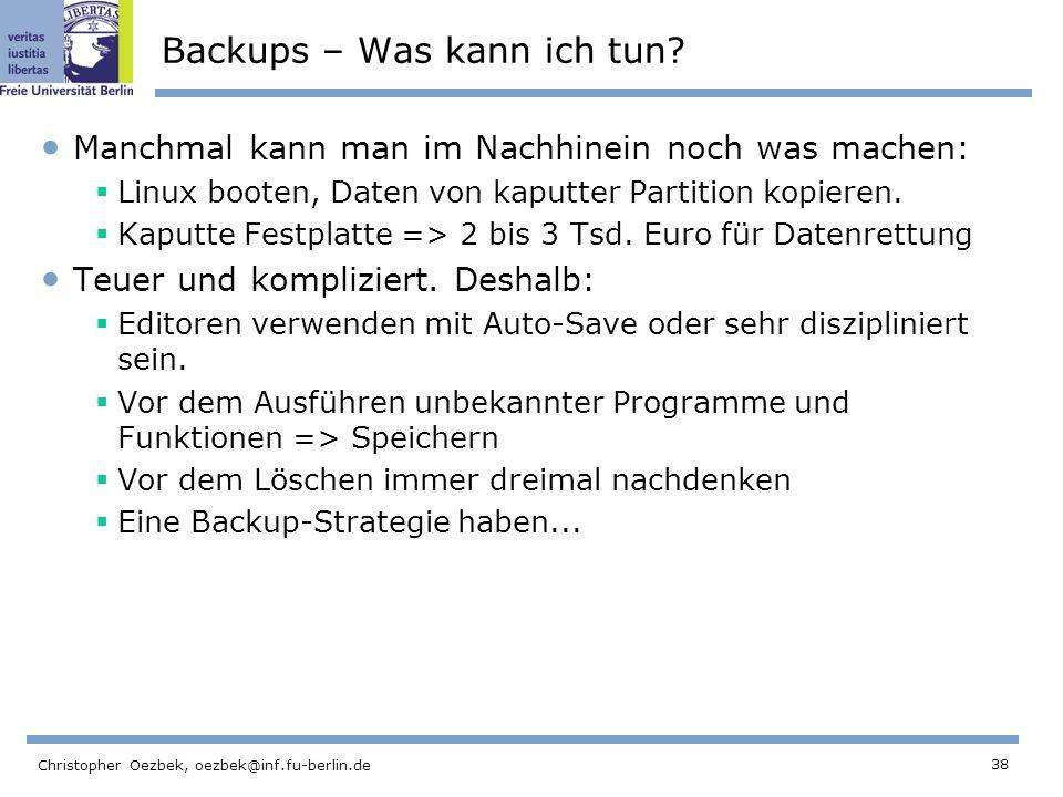 Backups – Was kann ich tun