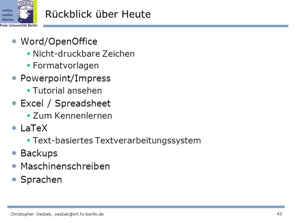 Rückblick über Heute Word/OpenOffice Powerpoint/Impress