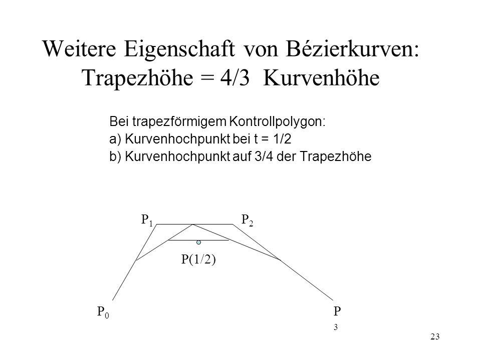 Weitere Eigenschaft von Bézierkurven: Trapezhöhe = 4/3 Kurvenhöhe