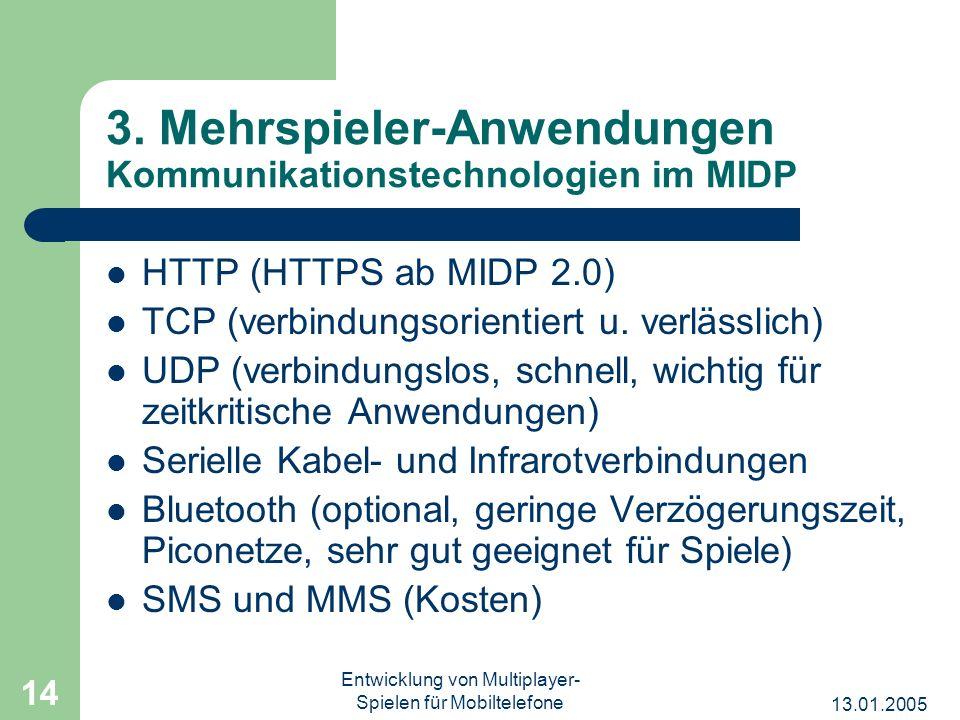 3. Mehrspieler-Anwendungen Kommunikationstechnologien im MIDP