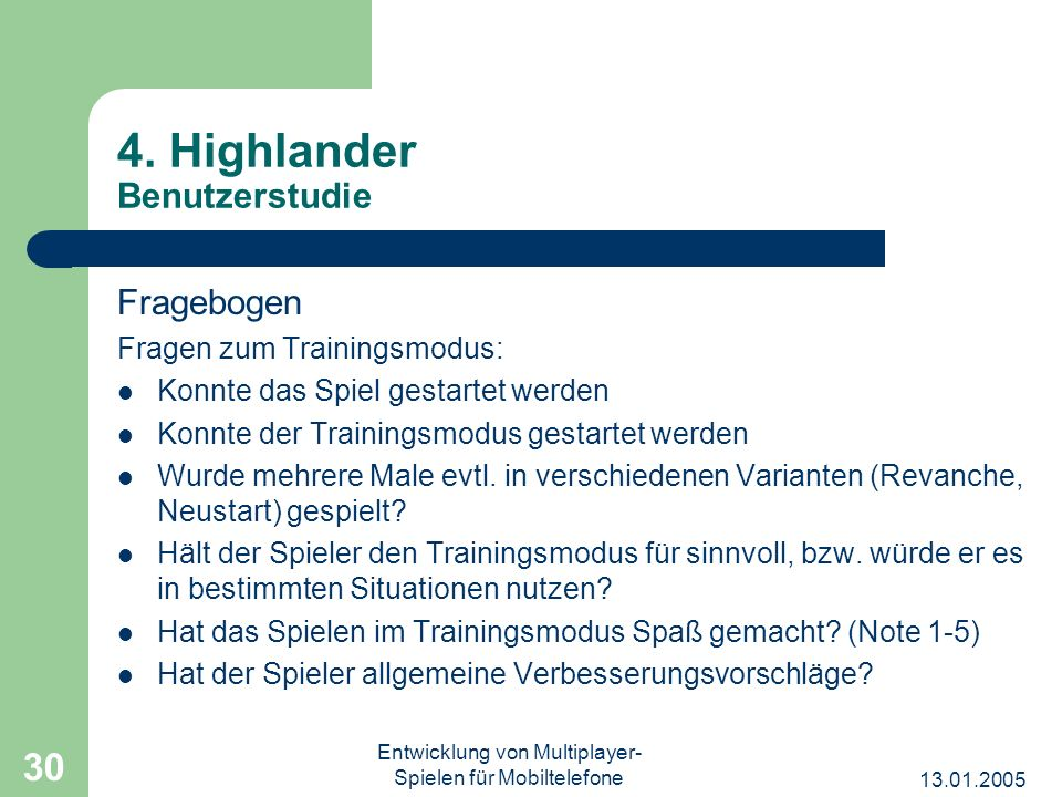 4. Highlander Benutzerstudie