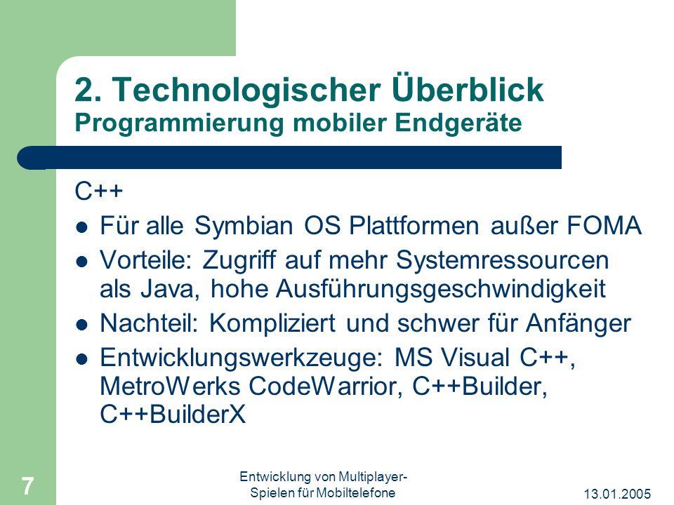 2. Technologischer Überblick Programmierung mobiler Endgeräte