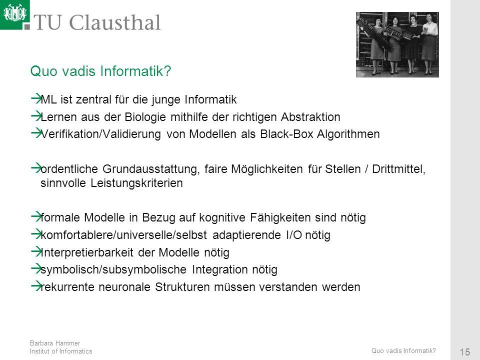Quo vadis Informatik ML ist zentral für die junge Informatik