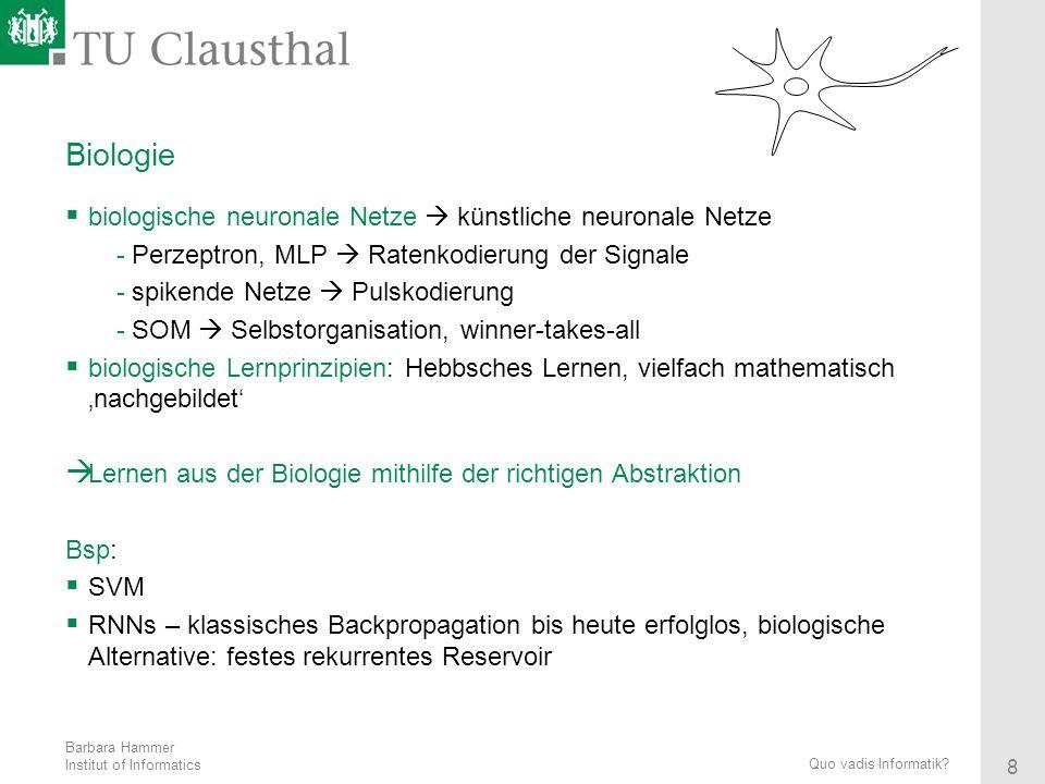 Biologie biologische neuronale Netze  künstliche neuronale Netze