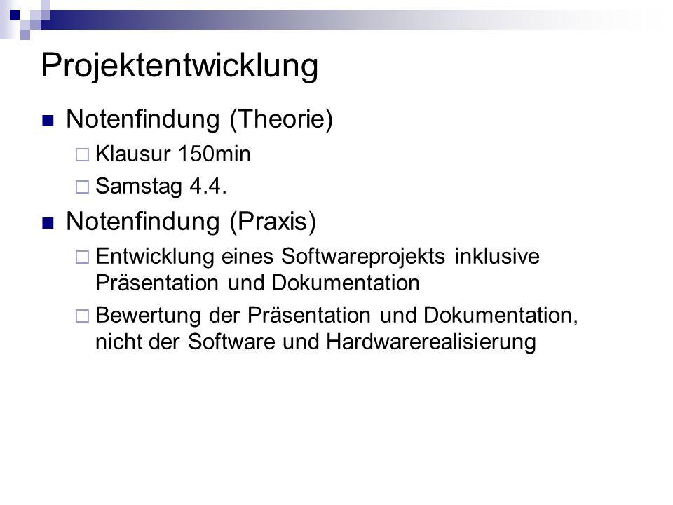 Projektentwicklung Notenfindung (Theorie) Notenfindung (Praxis)