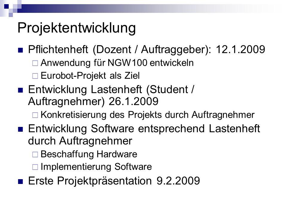 Projektentwicklung Pflichtenheft (Dozent / Auftraggeber): 12.1.2009