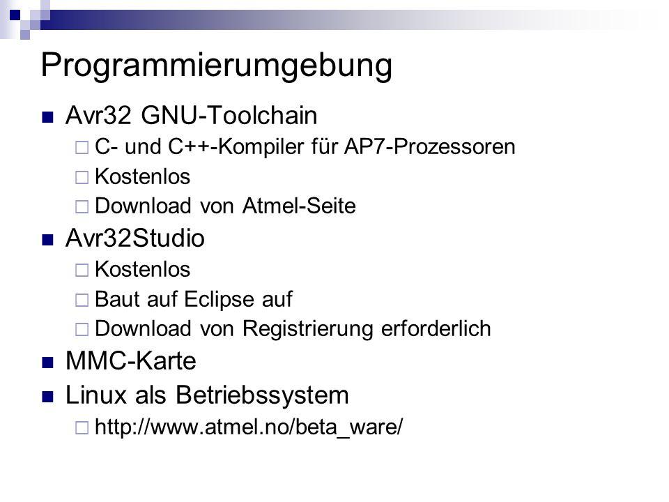 Programmierumgebung Avr32 GNU-Toolchain Avr32Studio MMC-Karte
