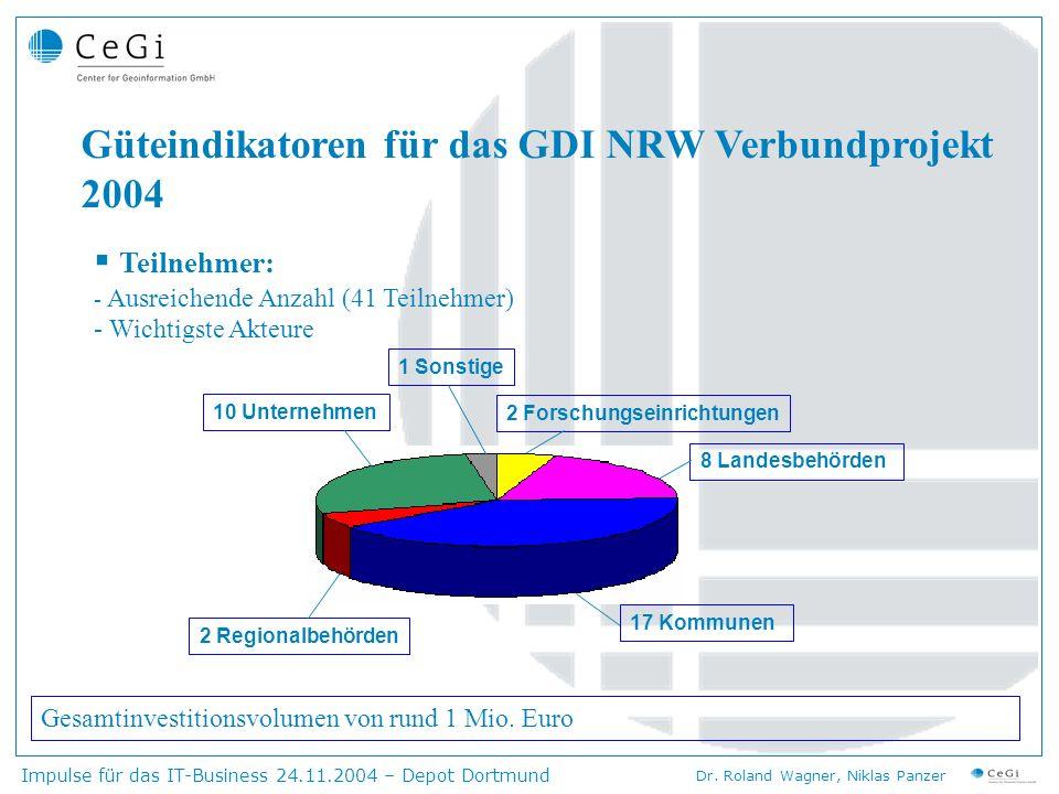 Güteindikatoren für das GDI NRW Verbundprojekt 2004