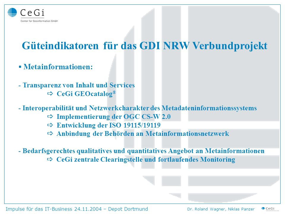 Güteindikatoren für das GDI NRW Verbundprojekt
