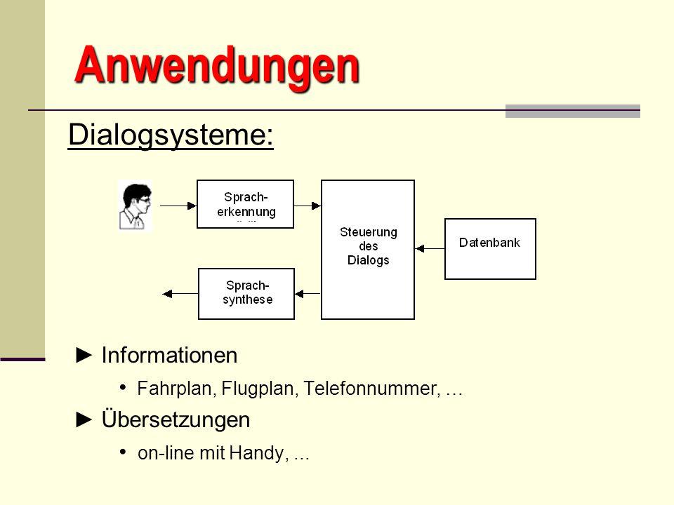 Anwendungen Dialogsysteme: ► Informationen