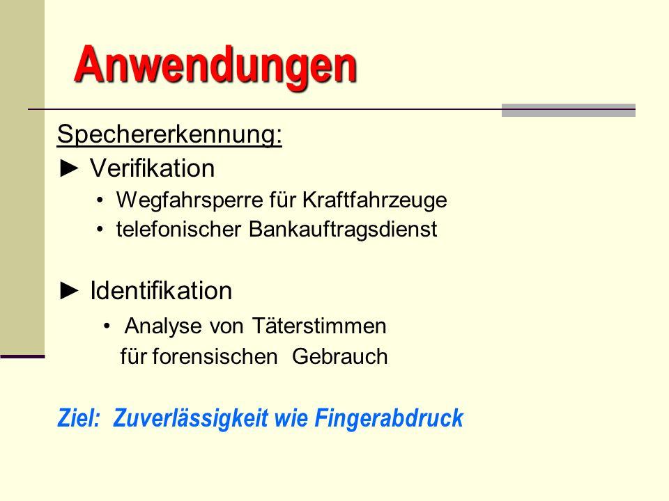 Anwendungen Spechererkennung: ► Verifikation ► Identifikation