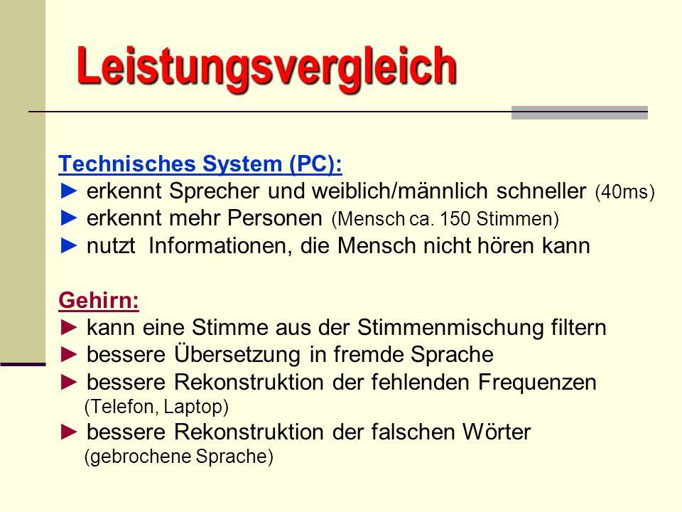 Leistungsvergleich Technisches System (PC):