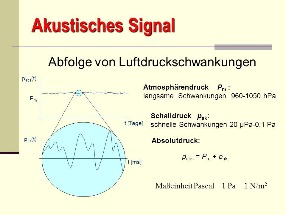 Akustisches Signal Abfolge von Luftdruckschwankungen