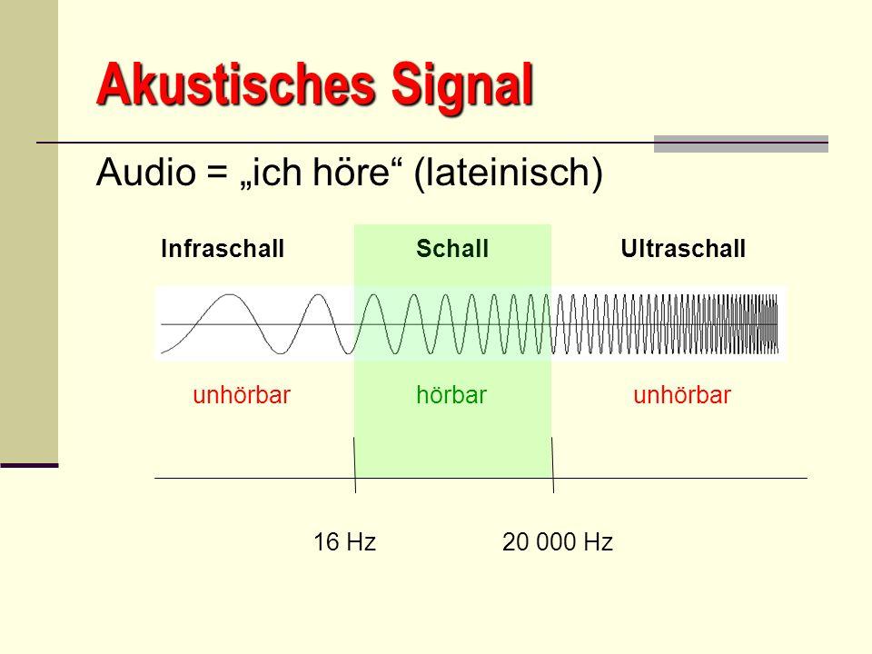 """Akustisches Signal Audio = """"ich höre (lateinisch) 16 Hz 20 000 Hz"""