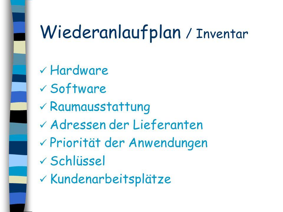 Wiederanlaufplan / Inventar