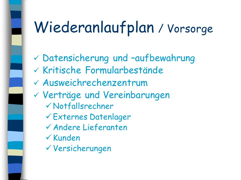 Wiederanlaufplan / Vorsorge